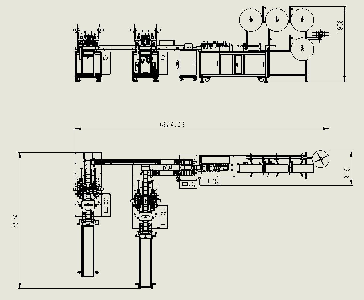 Línea de producción de máquina de mascarilla automática